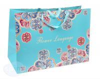 Широкий подарочный пакет Бирюзовый с узорами